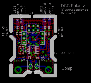 Layout DCC Tester SMD, Spur H0